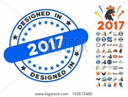 Designed in 2017 Stamp icon with bonus 2017 new year images. Vector illustration style is flat iconic symbols, modern colors.