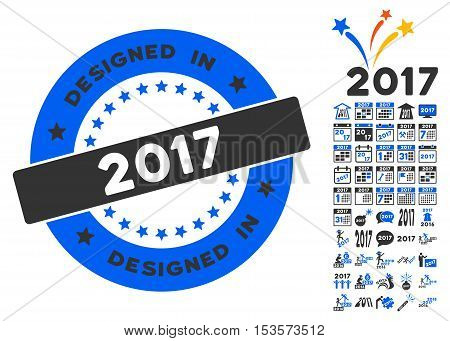 Designed in 2017 Year Stamp pictograph with bonus 2017 new year icon set. Vector illustration style is flat iconic symbols, modern colors.