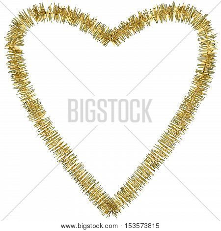 A 3d render of tinsel in a heart shape on a white background.