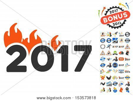 Fired 2017 Year pictograph with bonus 2017 new year symbols. Vector illustration style is flat iconic symbols, modern colors.