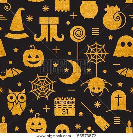 Seamless Halloween gold textured pattern with festive Halloween icons.  Vector illustration.