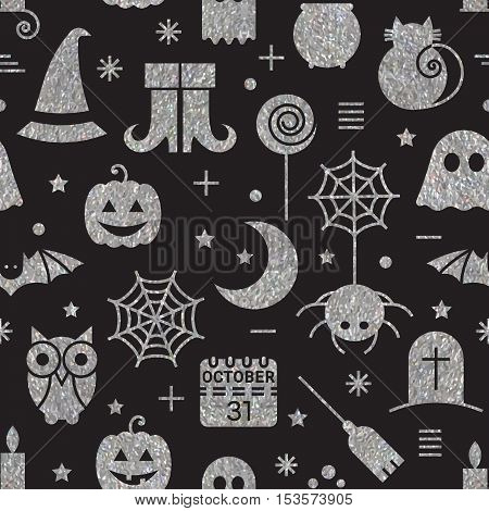 Seamless Halloween silver textured pattern with festive Halloween icons.  Vector illustration.