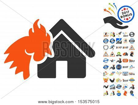 Red Rooster Realty Disaster pictograph with bonus 2017 new year symbols. Vector illustration style is flat iconic symbols, modern colors.