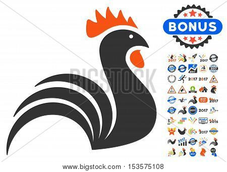 Rooster icon with bonus 2017 new year pictures. Vector illustration style is flat iconic symbols, modern colors.