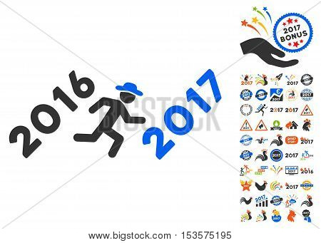 Run to 2017 Year pictograph with bonus 2017 new year icon set. Vector illustration style is flat iconic symbols, modern colors.