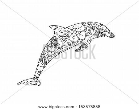 Coloring page with dolphin isolated on white background. coloring book for adult and older children. Editable vector illustration.