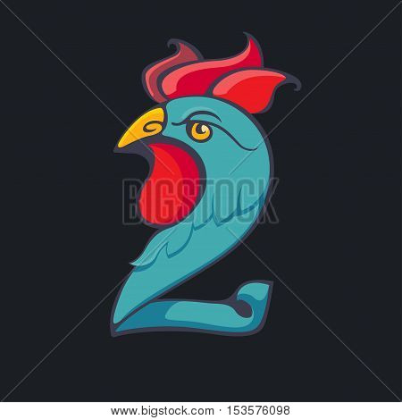 two figure rooster vector illustration, numeral concept