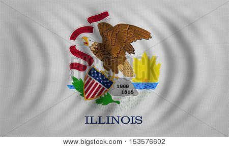 Flag of the US state of Illinois. American patriotic element. USA banner. United States of America symbol. Illinoisan official flag wavy detailed fabric texture illustration. Accurate size colors