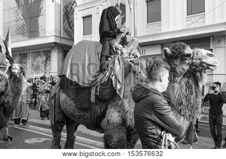 Istanbul Turkey - October 11 2016: Turkish Shia children takes part in an Ashura parade in Istanbul's district of Kucukcekmece. Turkish Shia Muslims mourning for Imam Hussain. Caferis take part in a mourning procession marking the day of Ashura in Istanbu
