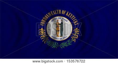 Flag of the US state of Kentucky. American patriotic element. USA banner. United States of America symbol. Kentuckian official flag wavy with real fabric texture illustration. Accurate size colors