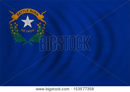 Flag of the US state of Nevada. American patriotic element. USA banner. United States of America symbol. Nevadan official flag wavy real detailed fabric texture illustration. Accurate size colors