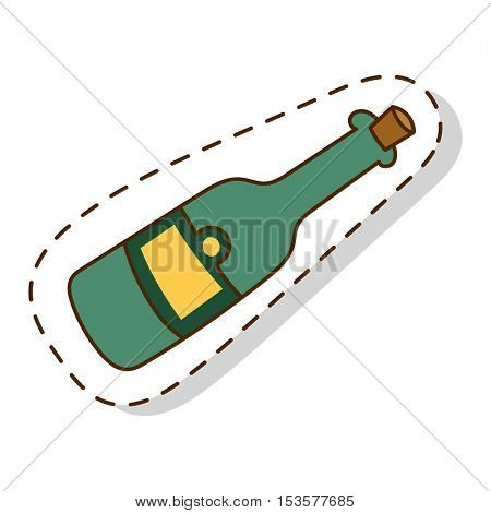 Bottle of Champagne vector illustration.