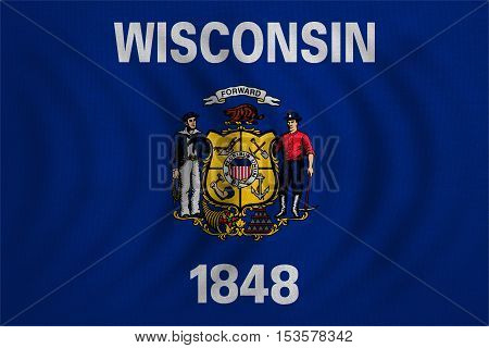 Flag of the US state of Wisconsin. American patriotic element. USA banner. United States of America symbol. Wisconsinite official flag wavy detailed fabric texture illustration. Accurate size color