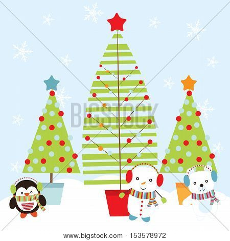 Christmas illustration with cute snowman, penguin, and bear with Xmas tree suitable for Xmas greeting card, postcard, and wallpaper