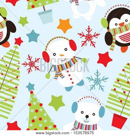 Seamless background of Christmas illustration with cute snowman, penguin, and bear on blue background suitable for wallpaper, scrap paper and postcard