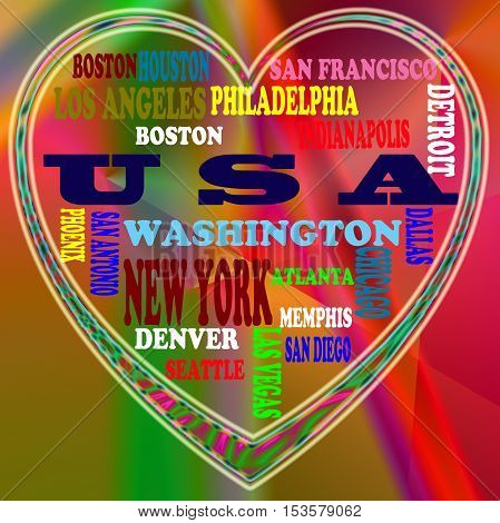 USA in the World and USA's cities as abstract coloring background,with form of the heart