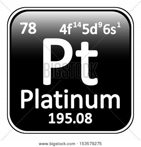 Periodic table element platinum icon on white background. Vector illustration.