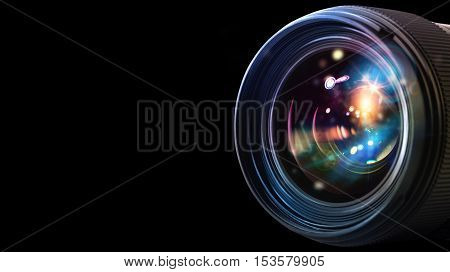 Professional lens of reflex camera with light effects