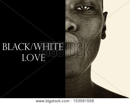 Beautiful afro american woman kissing the camera the difference between Black and White