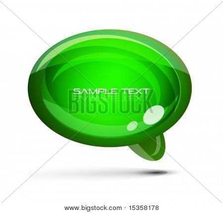Green glossy speach bubble