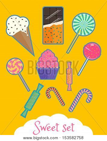 Icons of ice-cream candies and sweets chocolate bar lollipops and canes