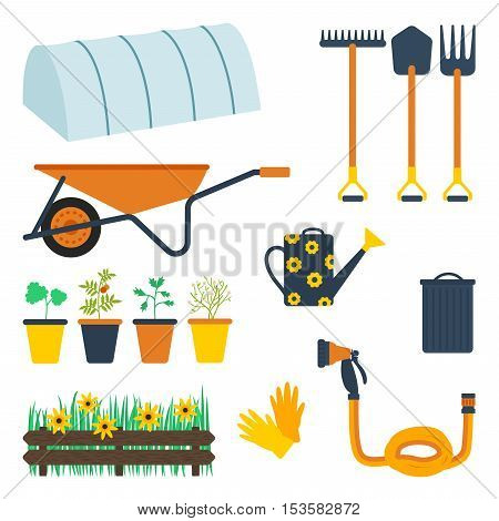 Garden tool set. Vector illustration of gardening equipmet and elements: hot house rake spade pitchfork wheelbarrow plants in the pots watering can bin and lid fence grass flowers garden gloves hose with a sprinkler