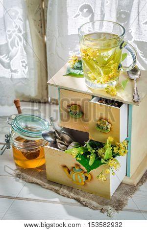 Healing Linden Tea With Honey For Flu
