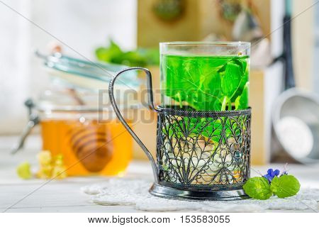 Healthy Mint Tea With Honey In Sunny Day