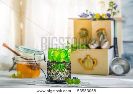 Healthy Mint Tea With Honey In Summer Day