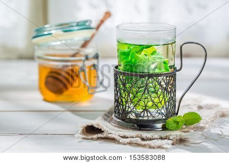 Fresh Mint Tea With Honey In Summer Day