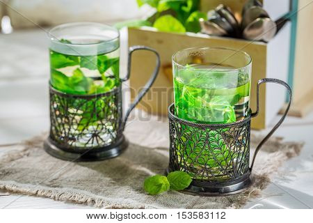 Healing Mint Tea With Honey In Sunny Day