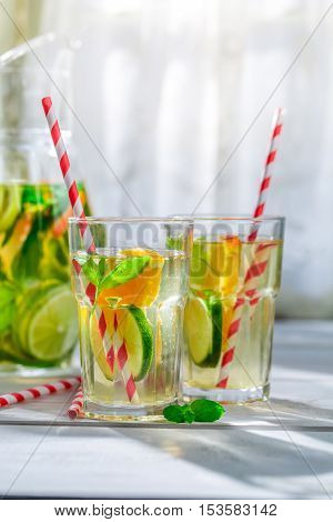 Healthy Lemonade With Citrus With In Sunny Day