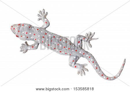Gecko doll isolated on white background with clipping part.