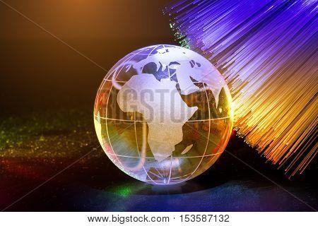 globe with fiber optics cables