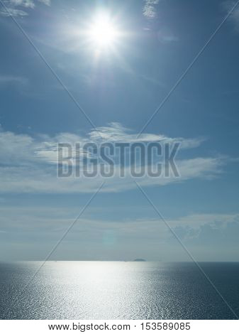 The beautiful seascape with the light shine from the sun