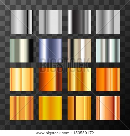 Large set of different silver and gold metal gradients swatch on transparent background