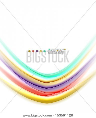 Multicolored lines on white, motion concept abstract background. Vector