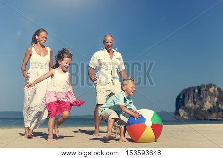 Beach Ball Family Father Mother Son Daughter Concept