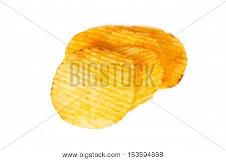Potato Chips isolated on white background, fatty food