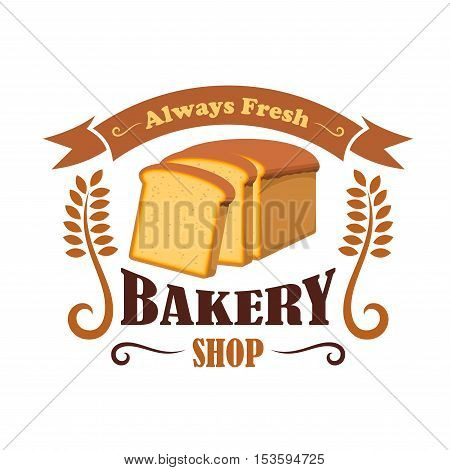 Bakery shop emblem with wheat bread brick. Daily fresh baked bread icon with ribbon and text for decoration design template