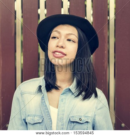 Women Casual Jeans Hat Girl Freedom Simplicity Concept