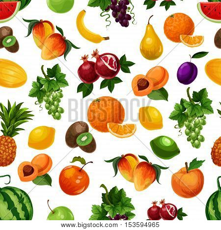 Vector pattern of fresh fruits with leaves. Bunches of white grape, pomegranate, apricot andpear, banana and peach, pineapple, lime and kiwi, mango. Exotic and tropical fruits seamless pattern