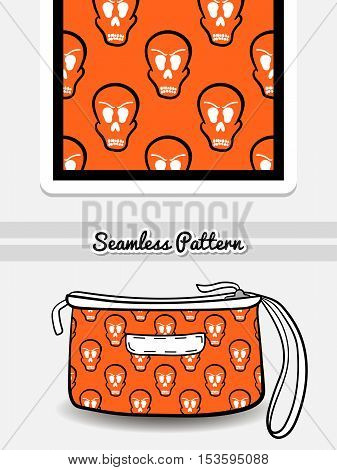 Hand drawn cosmetic bag with seamless pattern made from skulls on orange background. Vector illustration. Can be used for textile.