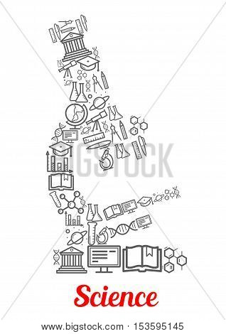 Microscope emblem with science and knowledge icons atom, formula, telescope, globe, ruler and dna, book and molecule, globe and proton, university, pen, planet