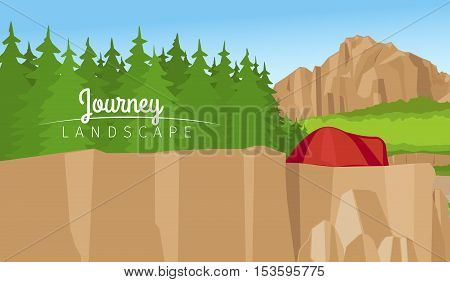 Realistic vector journey landscape horizontal background. Mountain and forest