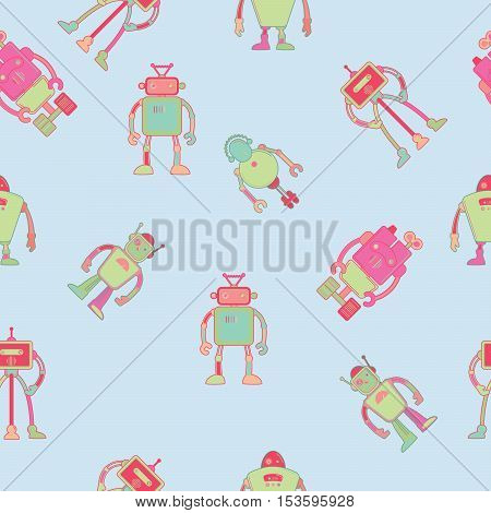 Seamless pattern for kids wallpaper design with robots vector illustration