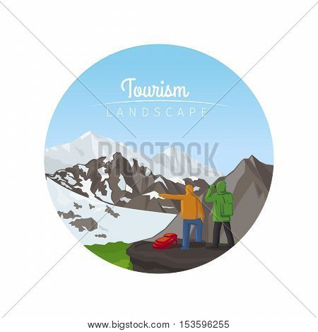 Tourism landscape circle icon with mountains vector illustration