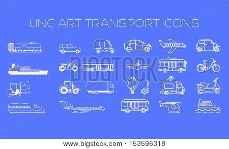 Transport line icons big set on the blue background vector illustration