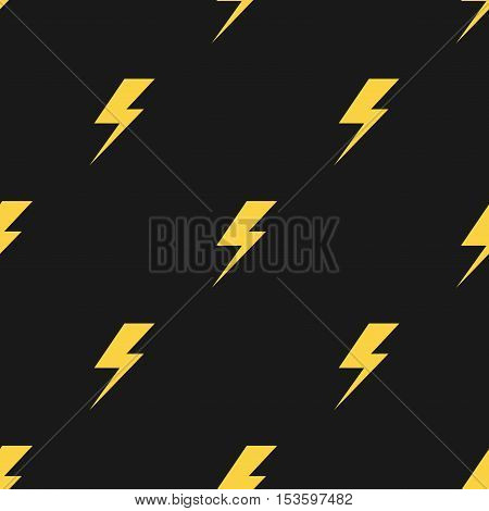 Yellow lightnings isolated on black background. Vector seamless pattern