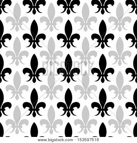 Vector fleur de lis seamless pattern in black and white color. Floral background illustration